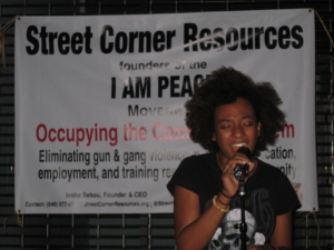 India amazes the audience at the I AM PEACE Cipher & Open Mic